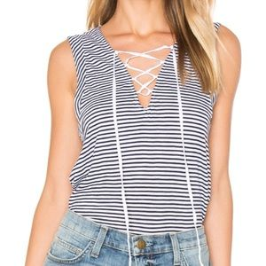 Splendid NWT Striped lace up tank top